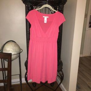 NWOT Laundry Stretch V-Neck Magenta Midi Dress